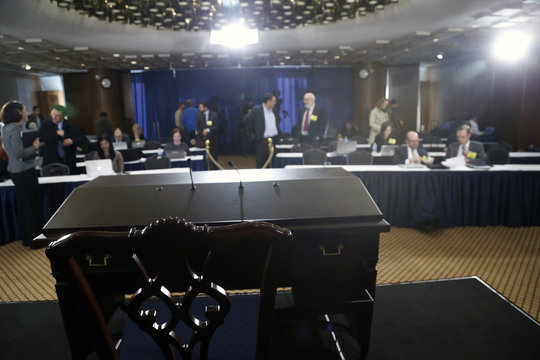 Bernanke's desk is pictured after his final planned news conference before his retirement, at the Federal Reserve Bank headquarters in Washington