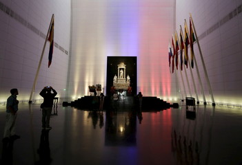 A view of the interior of independence hero Simon Bolivar's mausoleum in Caracas,