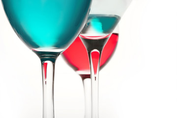 glasses of red wine and glass of water on it is white background and and place for text background