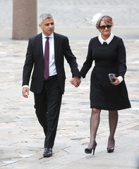 Mayor of London Sadiq Khan and wife Saadiya arrive for a service of thanksgiving for Queen Elizabeth's 90th birthday at St Paul's Cathedral in London