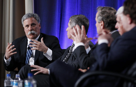 Chase Carey takes part in a panel discussion with Feltheimer, Schwartz, Karmazin and Kotick at the Milken Institute Global Conference in Beverly Hills