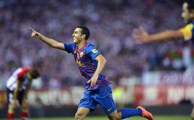 Barcelona's Pedro Rodriguez celebrates his second goal during their Spanish King's Cup final against Athletic Bilbao at the Vicente Calderon stadium in Madrid