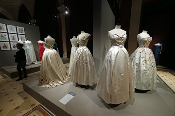 """Vintage dresses by designers Christian Dior are presented in the exhibition """"Les Annees 50, La mode en France"""" at the Palais Galliera  fashion museum in Paris"""