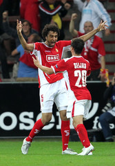 Belhocine of Standard Liege celebrates his goal with team-mate Seijas during their Europa League soccer match against FC Copenhagen in Liege