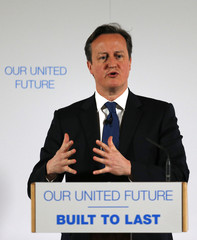 Britain's Prime Minister David Cameron delivers a speech  at Dynamic Earth in Edinburgh, Scotland