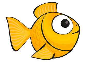 Golden fish isolated. Vector aquarium fish silhouette illustration. Colorful cartoon flat aquarium fish icon for your design.
