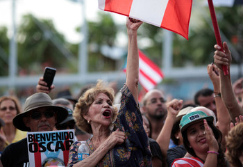 Supporters attend a rally in honour of Puerto Rican Oscar Lopez Rivera (not pictured) after he was released from house arrest in San Juan
