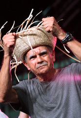 Puerto Rican Oscar Lopez Rivera attends a rally in his honour after being released from house arrest in San Juan