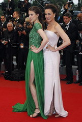 Actress MacDowell and daughter Qualley arrive for the awards ceremony of the 65th Cannes Film Festival
