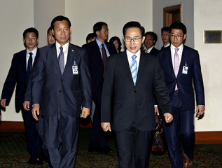 South Korean President Lee arrives at a hotel in Yangon