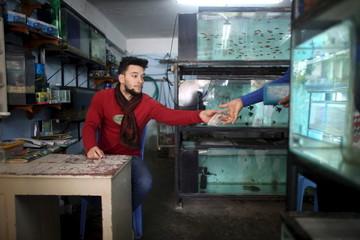 Mechanic Antonio Sanchez, 22, works at his family's fish shop in Havana
