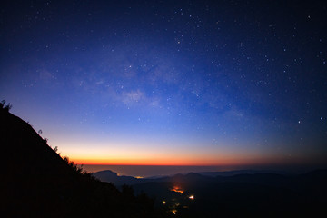 Landscape sunrise and Milky way galaxy at Doi inthanon Chiang mai, Thailand.Long exposure photograph.With grain