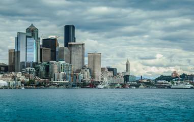 Seattle Skyline from Ocean, Washington, USA