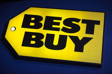 A Best Buy logo is seen during Thanksgiving Day in San Francisco