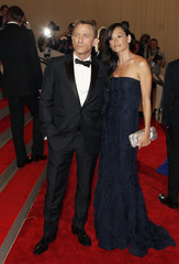 """Actor  Daniel Craig arrives with Satsuki Mitchell at the Metropolitan Museum of Art Costume Institute Benefit celebrating the opening of """"American Woman: Fashioning a National Identity"""" in New York"""