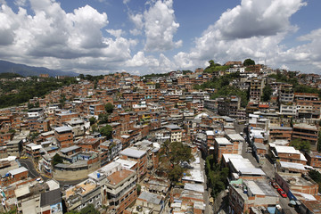 Aerial view of Venezuela's biggest slum of Petare in Caracas