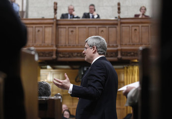 Canada's PM Harper speaks during Question Period in the House of Commons on Parliament Hill in Ottawa