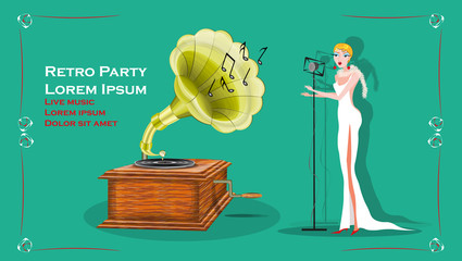 vector illustration with a retro singing woman and gramophone