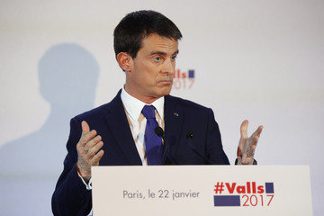Former French Prime Minister and candidate Manuel Valls reacts after the results in the first round of the French left's presidential primary election in Paris