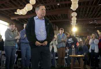 U.S. Republican presidential candidate Ohio Governor John Kasich arrives at a campaign event in Columbia