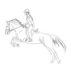 jockey on horse black on a white background
