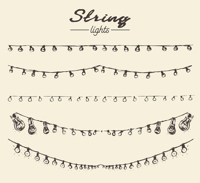 Set drawn string lights ement vector illustration