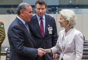Iraqi Defense Minister Khaled al-Obeidi and German Defense Minister Ursula von der Leyen attend the first ever gathering of the defense ministers of the Global Coalition Against ISIL/Daesh at NATO headquarters in Brussels