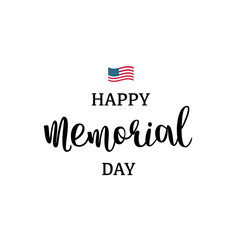 Happy Memorial Day with USA flag and hand drawn lettering. National american holiday vector illustration