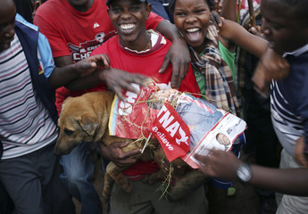 Supporters of Kenyan presidential candidate Uhuru Kenyatta celebrate with a dog wrapped in an election poster of Kenyatta on the outskirts of Nairobi