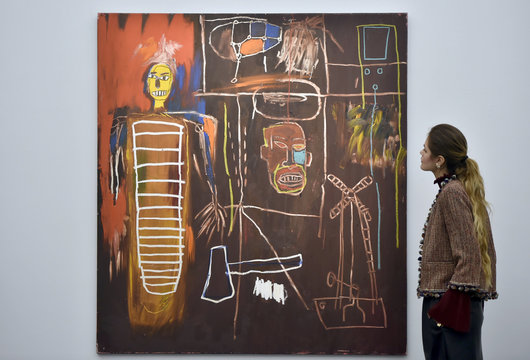 'Air Power' by Jean-Michel Basquiat, part British pop star David Bowie's collection, is exhibited in a press view at Sotheby's auction house, in central London