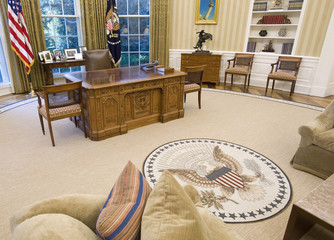 The redecorated Oval Office of U.S. President Barack Obama has new carpeting, wallpaper and sofas at the White House in Washington