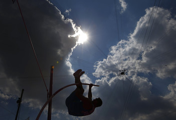Kazakhstan's Dmitriy Karpov competes in the men's decathlon pole vault event at the London 2012 Olympic Games