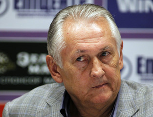 Ukraine's national soccer team head coach Mykhailo Fomenko attends a news conference at the Olympic stadium in Kiev