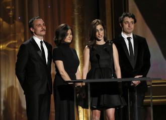 Actors Timotijevic, Glodjo, Marjanovic and Djuricko appear on stage before the Jean Hersholt Humanitarian Award was presented at the Annual Academy of Motion Picture Arts and Sciences Governors Awards in Hollywood