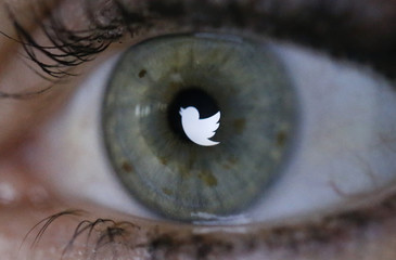 An illustration picture shows the Twitter logo reflected in the eye of a woman in Berlin
