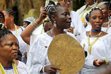 Worshippers of river goddess Osun attend the annual Osun-Osogbo festival in Osogbo