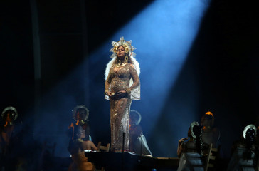 Beyonce performs at the 59th Annual Grammy Awards in Los Angeles