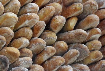 Bread is displayed for sale at a bakery in London