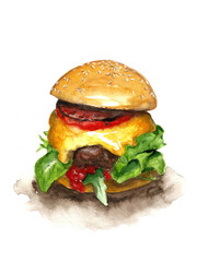 Watercolor burger isolated on white background
