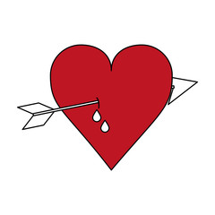 color silhouette image red heart pierced bleeding out by arrow vector illustration