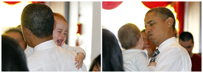 Combo picture shows U.S. President Barack Obama holding a crying baby as he meets diners at the Great Eastern Chinese restaurant in San Francisco