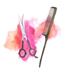 Watercolor scissors and comb illustration