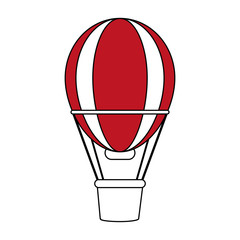 color silhouette image red striped hot air balloon with basket vector illustration