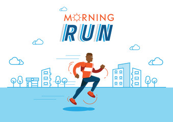 morning run illustration with building background