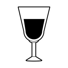 sketch silhouette image glass cup with wine vector illustration