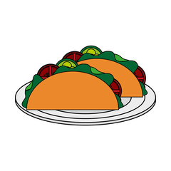 color image cartoon tacos on plate mexican food in white dish vector illustration