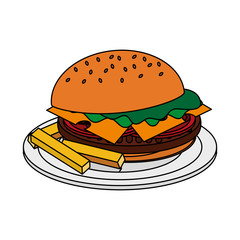 color image cartoon hamburger in dish with french fries vector illustration