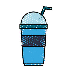 color crayon stripe cartoon blue plastic cup with lid and straw vector illustration