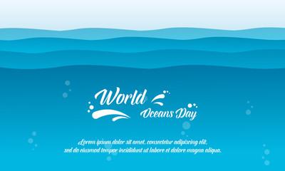 World ocean day background vector flat
