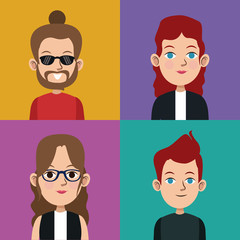 cartoon community people picture social vector illustration